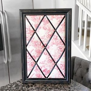 Other - Framed French Toile Memo Board Red White Black